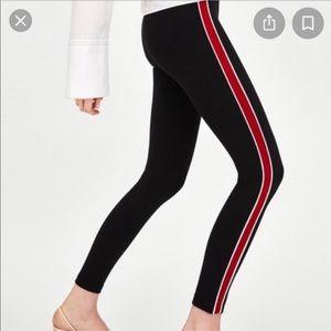 Zara black red stripe track style leggings size L